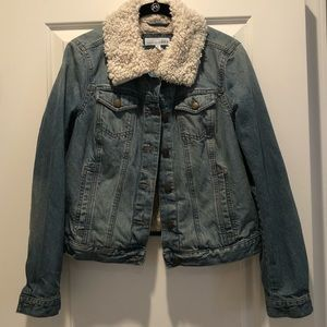 Loft size small shearling lined denim jacket